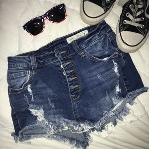 Papaya Distressed Shorts